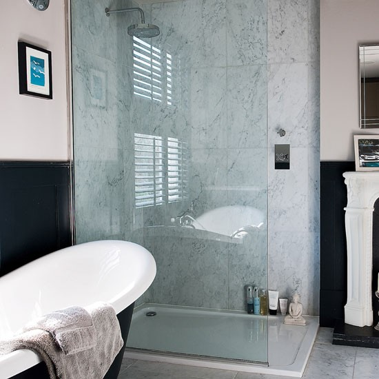 Kelly hoppen designed bathroom with separate shower room
