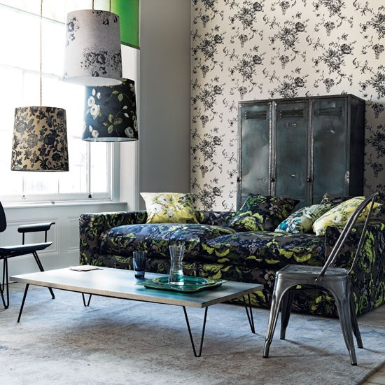 Monochrome floral living room | Floral sofa | Living room idea | Image | Housetohome