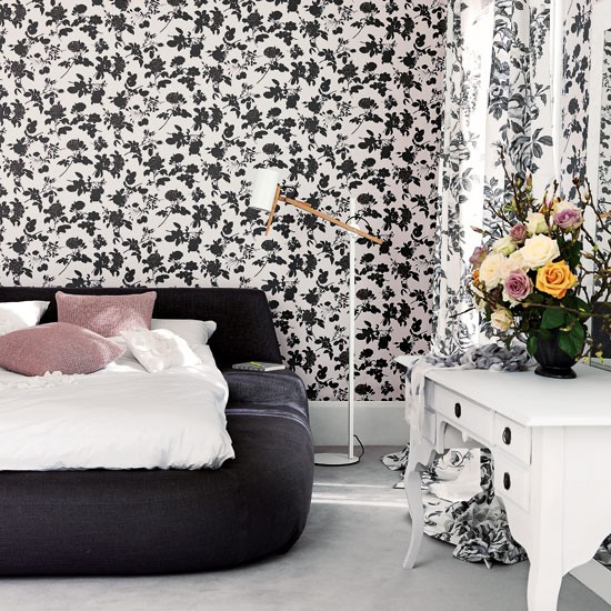 Black floral bedroom | Bedroom design | Floral wallpaper | Image | Housetohome