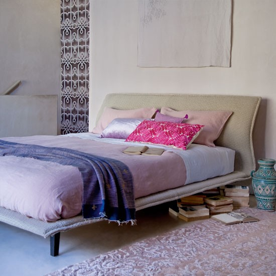 Soft lilac and neutral bedroom | Neutral bed | Modern bedroom idea | Image | Housetohome