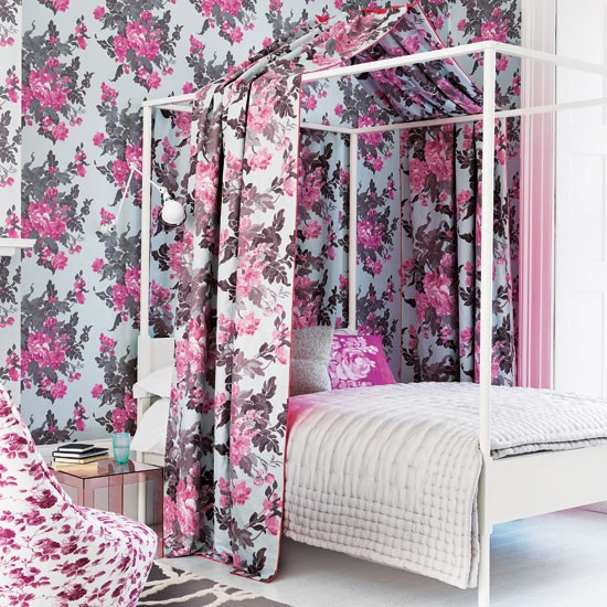 Pink floral bedroom | Bedroom canopy | Quirky bedroom idea | Image | Housetohome