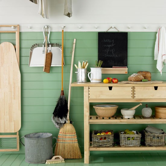 Green country utility room | Wall panelling | Utility room design | Image | Housetohome