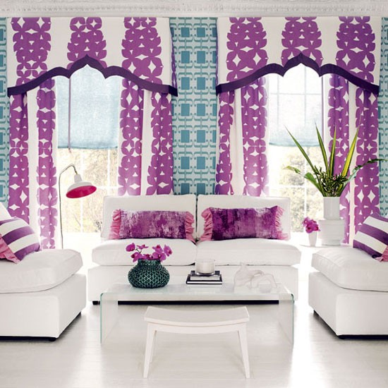 Bold purple living room colourful living room idea for Purple living room wallpaper