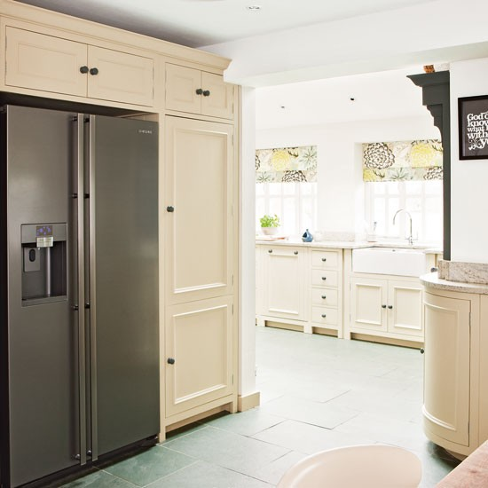 Kitchen With Fridge Freezer Cream Kitchen Design Idea