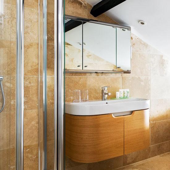Neutral country bathroom | Bathroom design | Wooden vanity unit | Image | Housetohome
