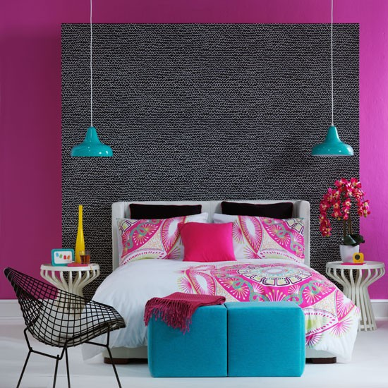 Vibrant sultry bedroom | Colourful bedroom idea | Bedroom feature wall | Image | Housetohome