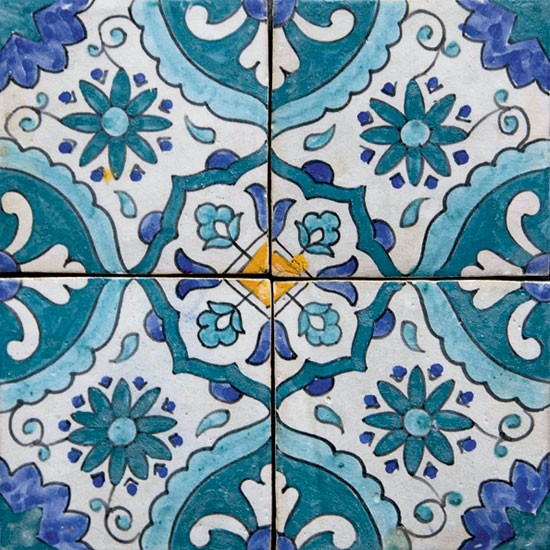 Blue moroccan tile ceramic related keywords blue for Moroccan wallpaper uk
