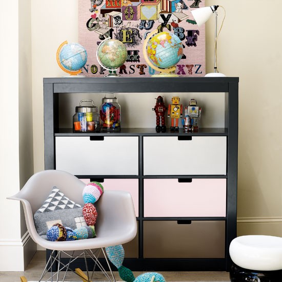 Contemporary children 39 s bedroom children 39 s room storage for Shelving for kids room