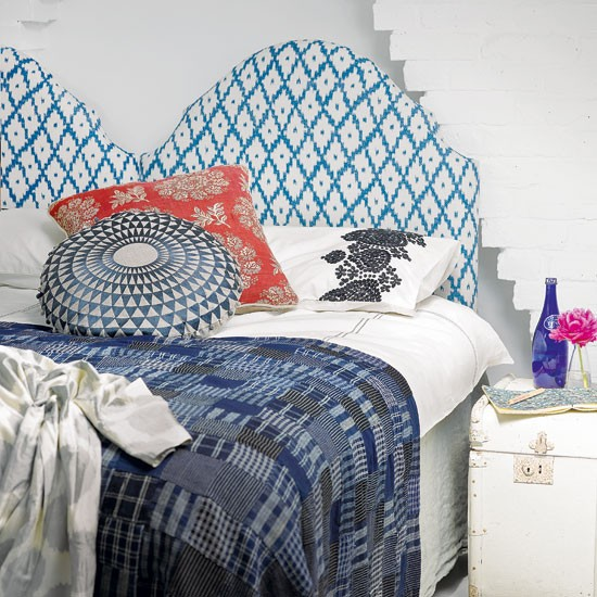 Ikat patterned bedroom | Bedroom decorating | Headboard idea | Image | Housetohome