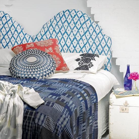 Ikat patterned bedroom | Bedroom decorating | Headboard idea | Image | Housetohome