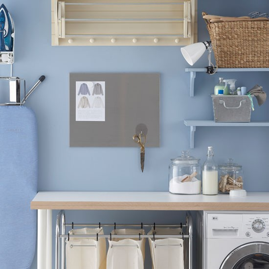 Powder blue laundry room luxe laundry 10 decorating for Laundry room accessories uk