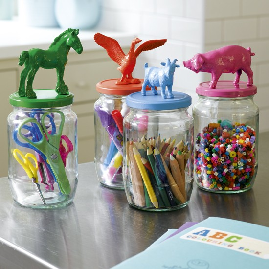 Organise a crafts cupboard with glass jars | Kids' playroom ...