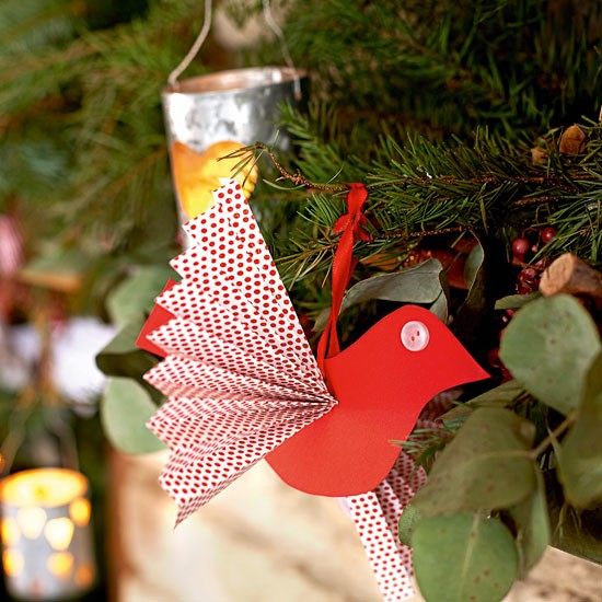 Make paper bird decorations handmade christmas for How to make paper christmas decorations at home