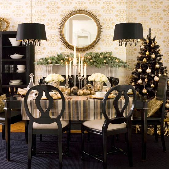 Gold decadence dining room | Christmas dining room decorating ideas | Christmas looks | Christmas | PHOTO GALLERY | Ideal Home | Housetohome