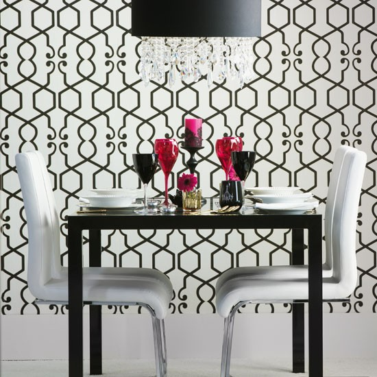 Childrens wood chairs - Black Dining Room Table With White Chairs Geometric Print Wallpaper