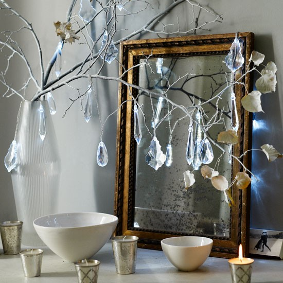 Wonderful Add Chandelier Drop Lights To Twigs Traditional Christmas Decorating