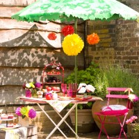 Summer garden with picnic table