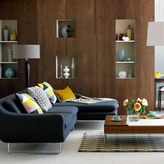 Bespoke walnut living room living room idea for Walnut furniture living room