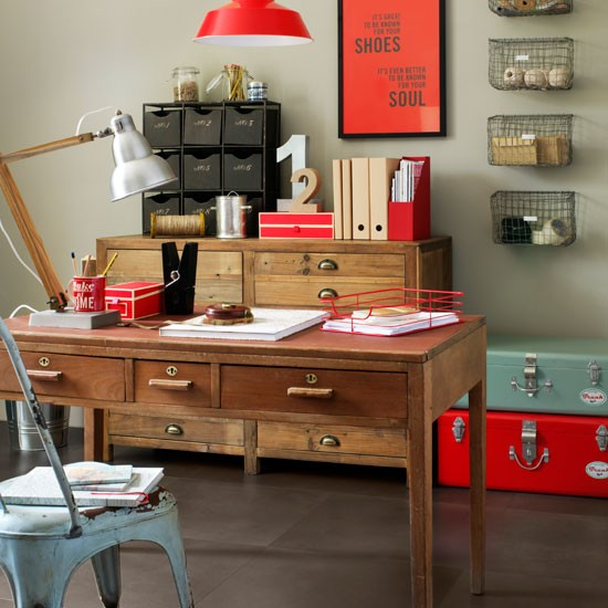 Industrial Chic Home Office With Pops Of Colour Industrial Chic Design Room