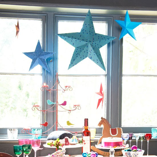Paper stars make an eyecatching window display.