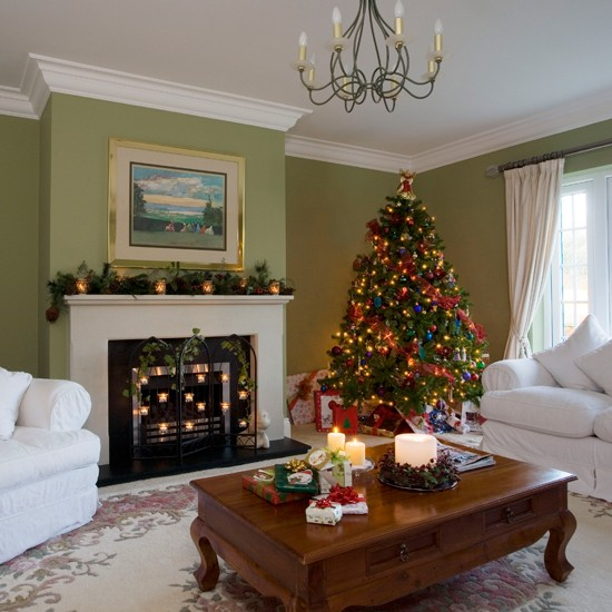 Christmas Inside House Drawing Christmas Drawing Room | Step