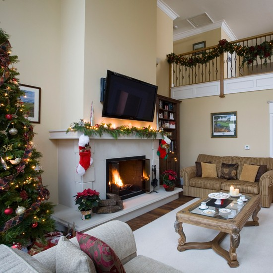 Christmas living room step inside a new build home for Homes decorated for christmas on the inside