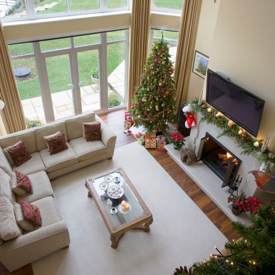 christmas living room view from mezzanine step inside a new build home dressed for christmas. Black Bedroom Furniture Sets. Home Design Ideas