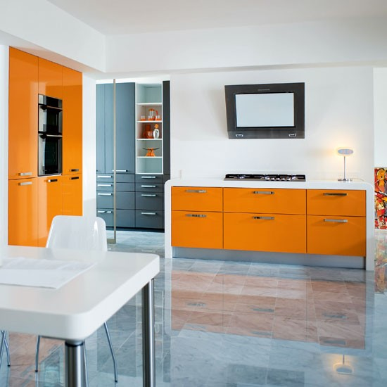 Orange kitchen | Kitchen colour schemes | Bright kitchens | Beautiful Kitchens