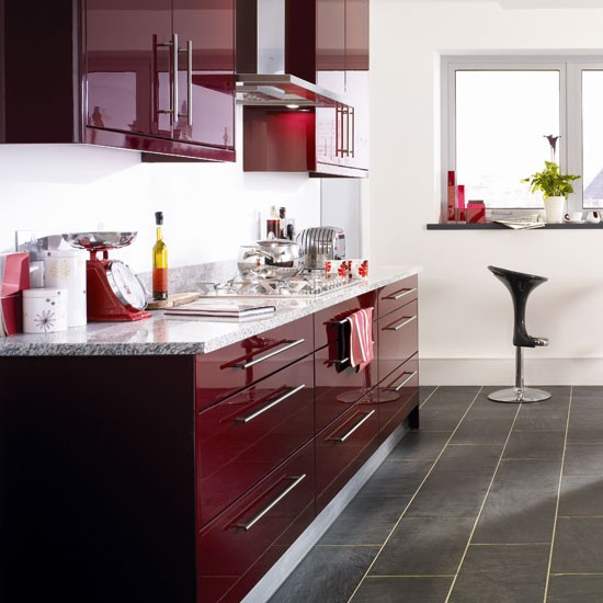 Burgundy kitchen  Kitchen colour schemes  Bright kitchens