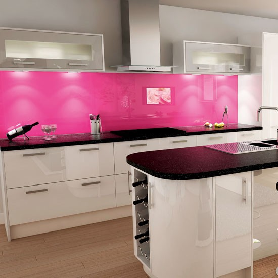 Pink and white kitchen  Kitchen colour schemes  Bright kitchens