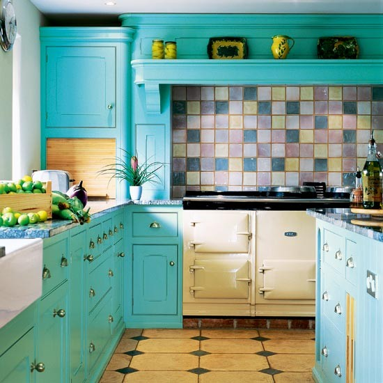Turquoise kitchen  Kitchen colour schemes  Bright kitchens