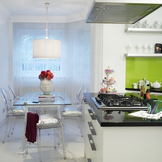 Kitchen Diner With Green Accents