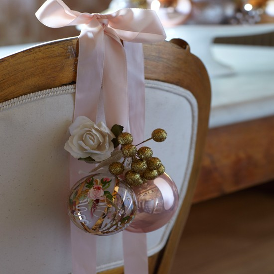 Chair decorations | Country-style Christmas table ideas | Christmas table settings | Chair | Country Homes &amp; Interiors