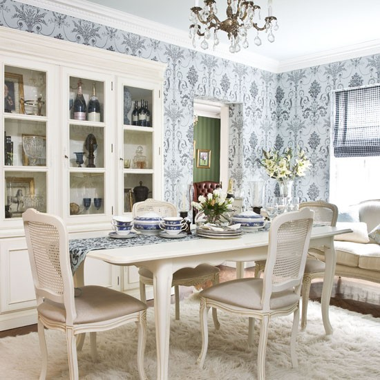 Pale blue printed wallpaper dining room wallpaper for Dining room wallpaper ideas uk