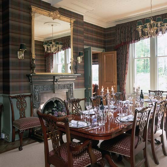 Tartan wallpaper | Dining room wallpaper ideas | PHOTO GALLERY | 25 Beautiful Homes | Housetohome