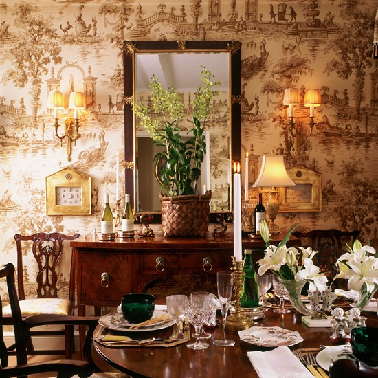Toile De Jouy Wallpaper Dining Room Wallpaper