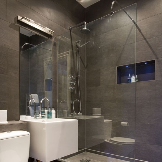 Shower room ideas | 25 beautiful homes | grey slate |modern | led lights | PHOTO GALLERY |Housetohome