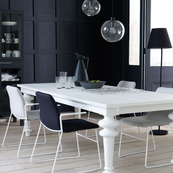Modern Black And White Dining Room Dining Room Dining