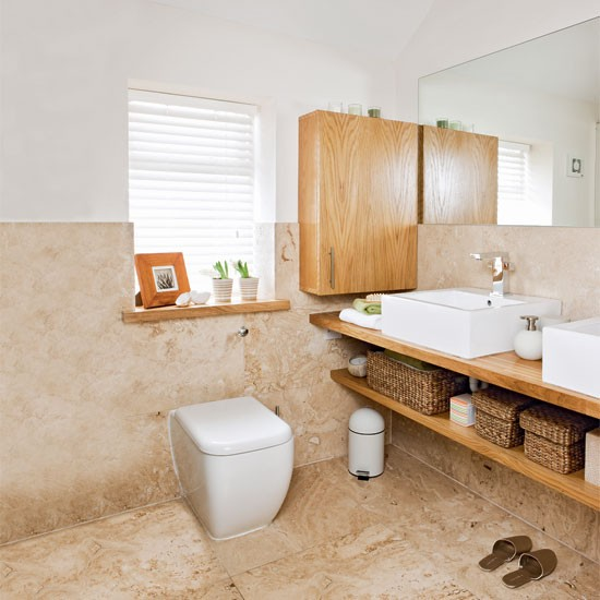 Neutral limestone bathroom | Bathroom decorating ideas | Bathroom | Ideal Home | IMAGE | Housetohome.co.uk