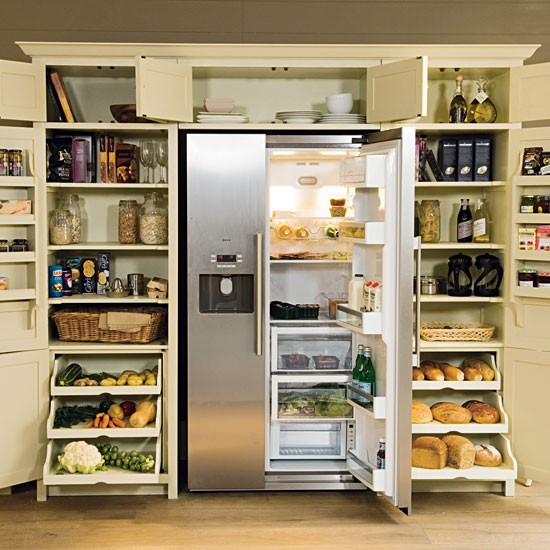 Larder with fridge freezer from neptune kitchen storage for Kitchen cabinets storage