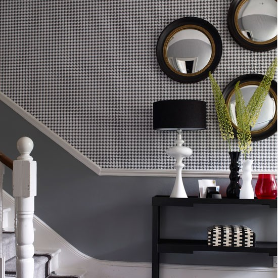Geometric wallpaper Classic entrance halls 10 best  : Classic monochrome entrance hall with geometric wallpaper and porthole mirrors from www.housetohome.co.uk size 550 x 550 jpeg 106kB