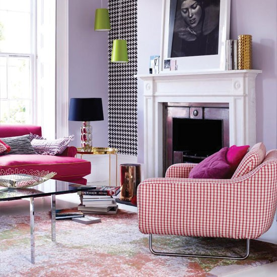 Colourful tweed living room | Living room decorating | Living room ideas | Living room | Livingetc | IMAGE | Housetohome.co.uk