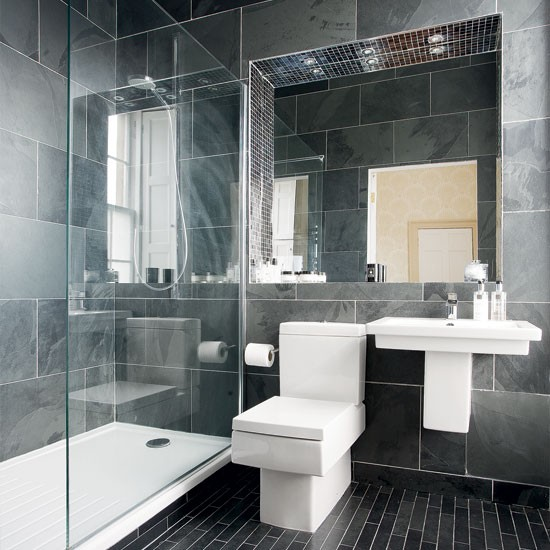 Modern charcoal grey bathroom bathroom designs for Bathroom ideas grey tiles