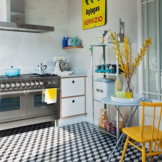 Industrial style kitchen with geometric tiles kitchen decorating ideas kitchen housetohome - Retro flooring kitchen ...