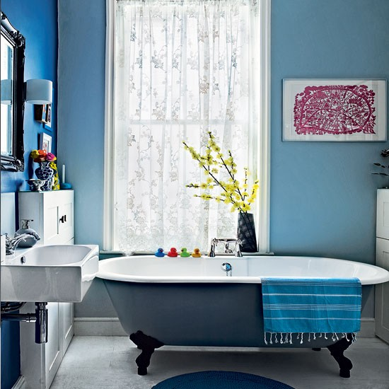 Modern blue bathroom | Bathroom decorating ideas | Bathroom | Livingetc | IMAGE | Housetohome.co.uk