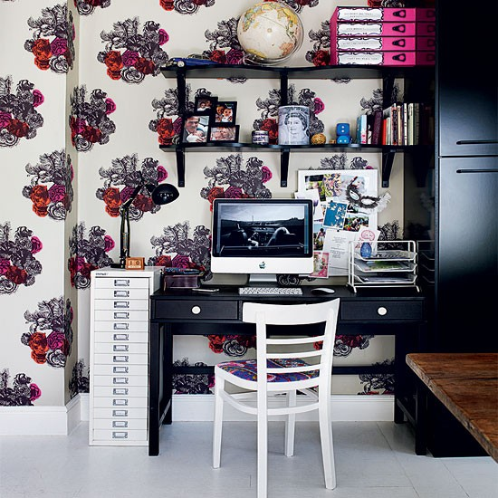 Modern floral home office | Home office decorating ideas | Home office | Livingetc | IMAGE | Housetohome.co.uk