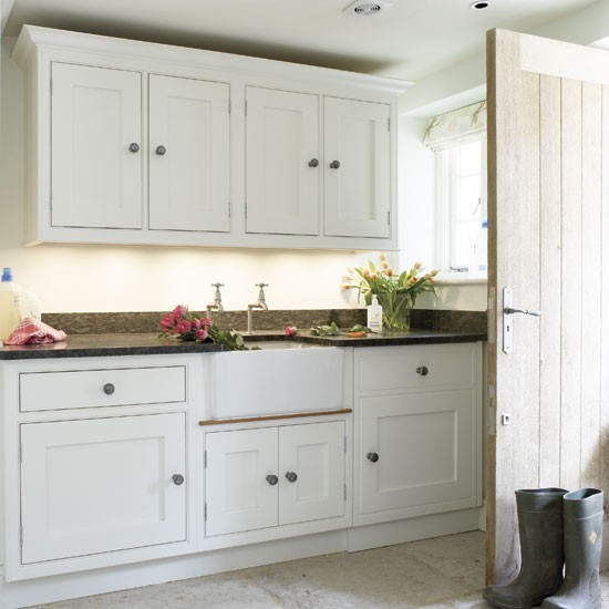 Utility Room Sink Unit : Classic neutral utility room with cupboards and belfast sink Storage ...