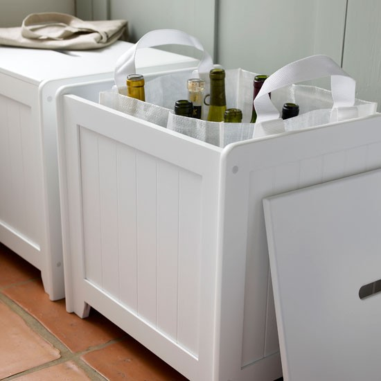 White wooden storage box in classic utility room | Storage ...