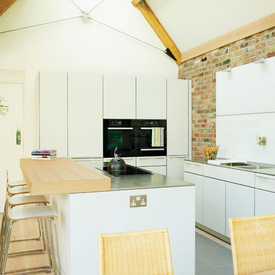 Modern exposed brick kitchen kitchen decorating ideas for Exposed brick kitchen ideas