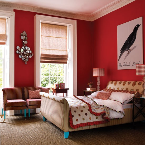 Bold red bedroom | Bold red colour schemes | Colour | PHOTO GALLERY | decorating ideas | Housetohome.co.uk